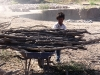 hard working child carrying wood to the fire stoker