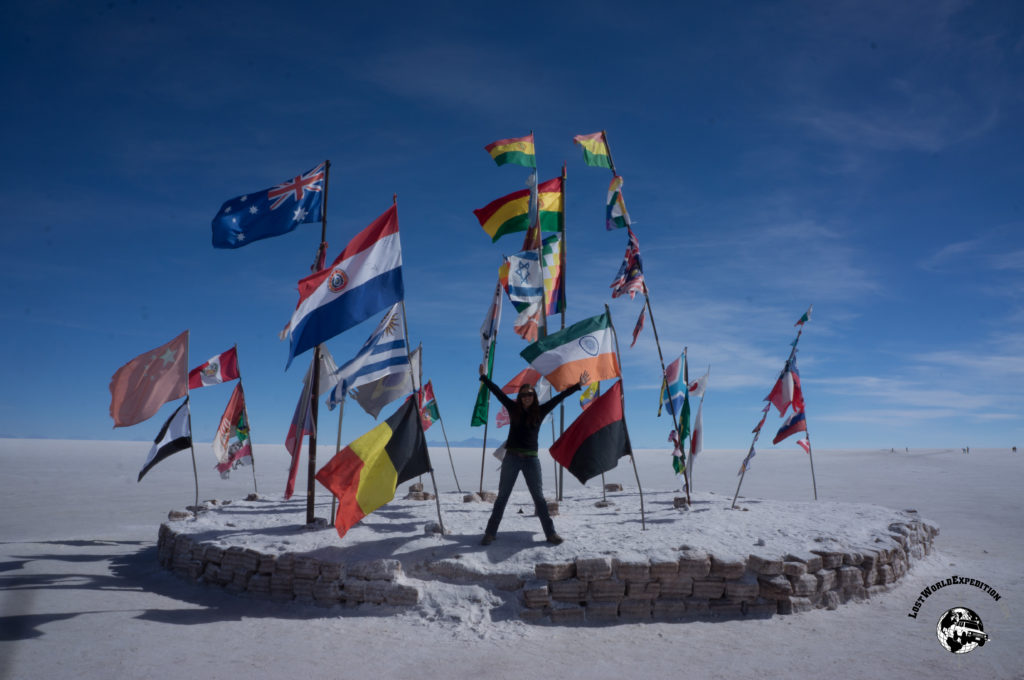 Some flags of the world on display in the Salar de Uyuni in Bolivia.