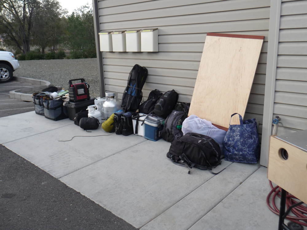 This is the majority of our stuff staged outside of the Cruiser... quite a bit no?