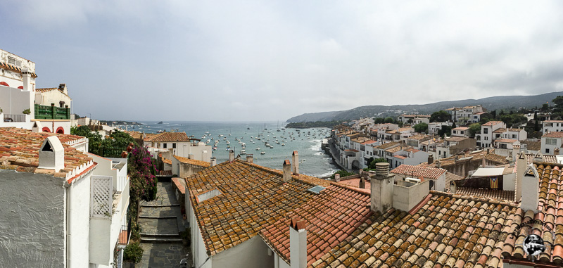 Looking out at the Mediterranean over the rooftops of the village of Cadaques, Spain.