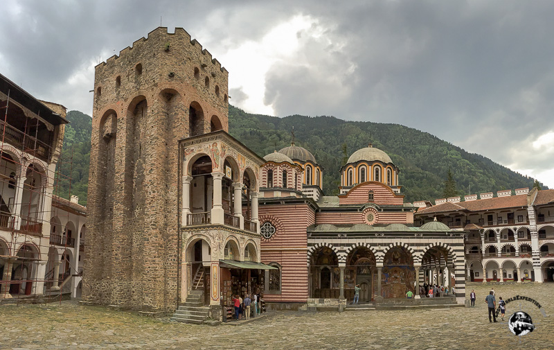 The beautiful Rila Monastery in the mountains of Bulgaria.