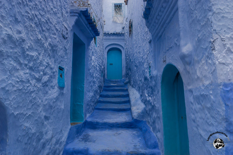One of the many blue washed stairways in Chefchaouen.