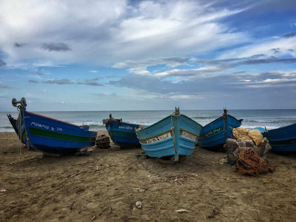 Fishing boats pulled up on the beach near Tetouan.